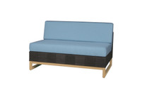 EKKA Sectional Seat - Plantation Teak (smooth sanded), Batyline or Textilene Mesh, Sunbrella Canvas (mineral blue)