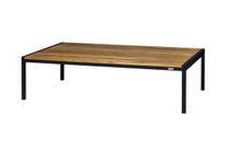 JAYDU Coffee Table - Powder-Coated Aluminum (black), Recycled Teak (smooth sanded)