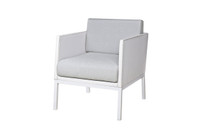 JAYDU 1-Seater - Powder-Coated Aluminum (white), Stamskin Faux Leather Upholstery (white), Sunbrella Cushions (seagull grey)