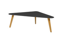 KAAT Large Coffee Table - Powder-Coated Aluminum (black), Plantation Teak (smooth sanded)
