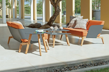 KAAT 2-Seaters with Coffee and End Tables - Powder-Coated Aluminum (anthracite), Plantation Teak (smooth sanded), Sunbrella Canvas (Tuscan)