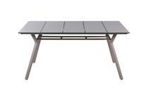 "MANDA Dining Table 63.5"" x 39.5"" - Powder-Coated Aluminum (taupe), High Pressure Laminate Top (sandstone)"