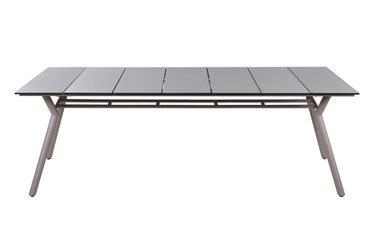 "MANDA Dining Table 88.5"" x 39.5"" - Powder-Coated Aluminum (taupe), High Pressure Laminate Top (sandstone)"