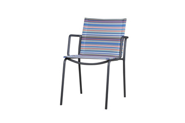 MANDA Chair Sling - Powder-Coated Aluminum (anthracite),  Twitchell Textilene Stripe (blue barcode)