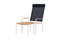 MEIKA High Back Chair (with Optional Headrest) & Footstool - Stainless Steel (hairline finish), Recycled Teak (brushed finish), Batyline Sling Mesh (black)
