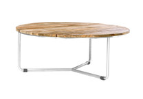 MEIKA Low Table - Stainless Steel (hairline finish), Recycled Teak (brushed finish)