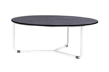 MEIKA Low Table - Stainless Steel (hairline finish), HPL top (slate)