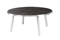 MEIKA Round Table - Stainless Steel (hairline finish), HPL top (slate)