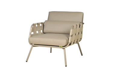 MEIKA Sofa 1-Seater - Powder-Coated Stainless Steel (taupe), Twitchell Leisuretex webbing upholstery (taupe), Sunbrella Canvas Cushions (taupe)