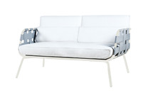 MEIKA Sofa Love Seat - Stainless Steel (white), Twitchell Leisuretex webbing upholstery (grey), Sunbrella Canvas Cushions (white)