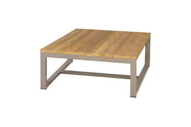 MONO Square Table - Powder-Coated Aluminum, Recycled Teak (brushed finish)