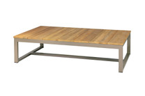 MONO Long Table - Powder-Coated Aluminum, Recycled Teak (brushed finish)