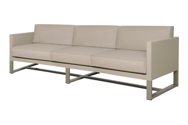 MONO Sofa 3-Seater Couch - Powder-Coated Aluminum (taupe), Twitchell Leisuretex (taupe) Sunbrella Canvas (taupe)