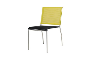 NATUN Side Chair - Stainless Steel, Batyline Standard (black/lime)