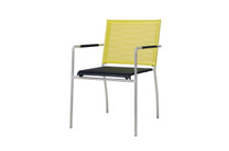 NATUN Stacking Chair - Stainless Steel, Batyline Standard (black/lime)