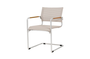 NATUN Cantilever Chair - Stainless Steel, Batyline Canatex (hemp)