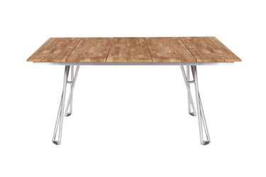 "NATUN Slat Table 63.5"" x 39.5"" - Stainless Steel (hairline finish), Recycled Teak (brushed and laminated finish)"
