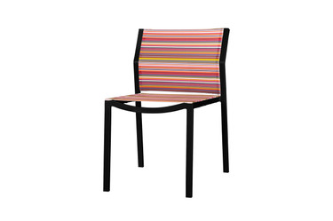STRIPE Stackable Side Chair - Powder-Coated Aluminum (black), Twitchell Stripes Textilene Mesh Sling Seat/Back (orange barcode)