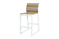 STRIPE Bar Chair - Powder-Coated Aluminum (white), Twitchell Stripes Textilene Mesh Sling Seat/Back (green barcode)