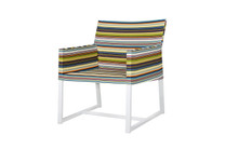 STRIPE Casual Chair - Powder-Coated Aluminum (white), Twitchell Stripes Textilene (green barcode)