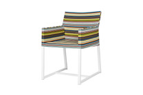 STRIPE Dining Chair  - Powder-Coated Aluminum (white), Twitchell Stripes Textilene (green barcode)