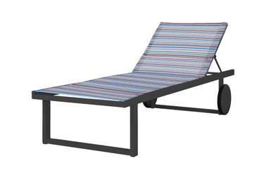 STRIPE Lounger - Powder-Coated Aluminum (anthracite), Twitchell Stripes Textilene Mesh Sling (blue barcode)