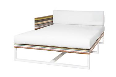 STRIPE Right Hand Chaise - Powder-Coated Aluminum (white), Twitchell Stripes Textilene (green barcode), Sunbrella Canvas (white)