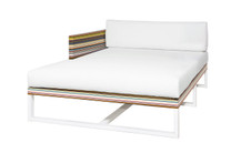 STRIPE Right Hand Chaise - Powder-Coated Aluminum (white), Twitchell Stripes Textilene (green barcode), Sunbrella Canvas (white)