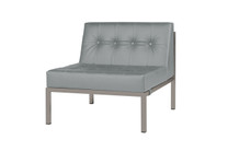 POLLY Florence Sectional Seat - Powder-Coated Aluminum (taupe), Stamskin Faux Leather (grey taupe)