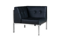 POLLY Florence Corner Seat - Stainless Steel (hairline finish),  Stamskin Faux Leather (black)