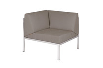 POLLY Corner Seat - Stainless Steel (hairline finish), Sunbrella Canvas (taupe)