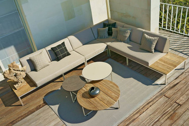 POLLY Left & Right Hand Sectionals, Corner and Seat Modules (with MEIKA side, low, and coffee tables) - Stainless Steel (hairline finish), Sunbrella Canvas (taupe), Recycled Teak (brush wide slats)