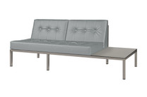 POLLY Florence Left Hand Sectional - Powder-Coated Aluminum (taupe), Stamskin Faux Leather (grey taupe), High Pressure Laminate (HPL - sandstone)