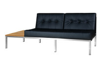 POLLY Florence Right Hand Sectional - Stainless Steel (hairline finish),  Stamskin Faux Leather (black), Recycled Teak (brushed, wide slats)