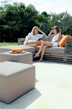 MONO Stool and Ottoman (with YUYUP 2-seater) - Twitchell Leisuretex (taupe)
