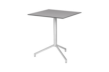 "CAFFE Square Table 25"" Flip-Top -  Stainless Steel (hairline finish), High Pressure Laminate (sandstone)"