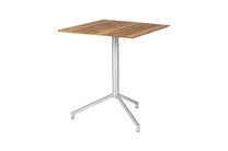 "CAFFE Square Table 25"" Flip-Top - Stainless Steel (hairline finish), Recycled Teak (brushed finish)"