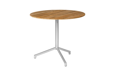 "CAFFE Round Table 27.5"" Flip-Top - Stainless Steel (hairline finish), Recycled Teak (brushed finish)"