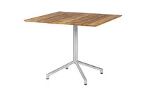 "CAFFE Square Table 35"" - Stainless Steel (hairline finish), Recycled Teak (brushed finish)"