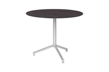 "CAFFE Round Table 33.5"" -  Stainless Steel (hairline finish), High Pressure Laminate (slate)"