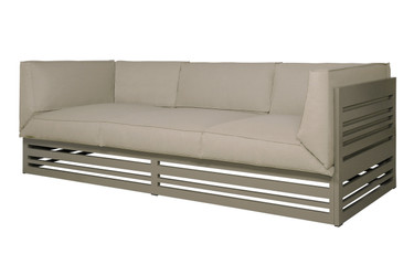 YUYUP Sofa 3-Seater - Powder-coated aluminum (taupe), Sunbrella Canvas (taupe)