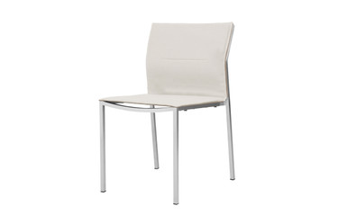 ZIX Stacking Side Chair with Optional Cushion - Stainless Steel (hairline finish), Olefin (white)