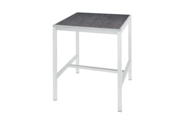 "ZIX Bar Table 31.5"" x 31.5"" - Stainless Steel (hairline finish), High Pressure Laminate (slate)"