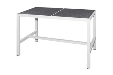 "ZIX Bar Table 59"" x 31.5"" - Stainless Steel (hairline finish), High Pressure Laminate (slate)"