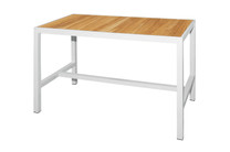 """ZIX Bar Table 59"""" x 31.5"""" - Stainless Steel (hairline finish), Plantation Teak (smooth sanded, abstract pattern slats)"""