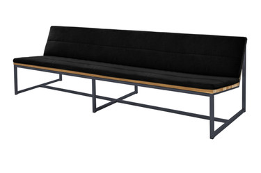 "OKO Casual Bench 92.5"" - Powdercoated Stainless Steel, Recycled Teak, Sunbrella Canvas"