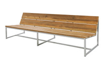 "OKO Casual Bench 92.5"" - Stainless Steel, Recycled Teak"