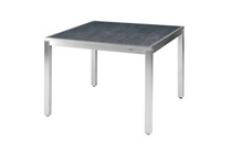 "ZIX Dining Table 39.5"" x 39.5"" - Stainless Steel (hairline finish), High Pressure Laminate (slate)"