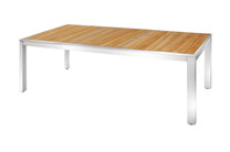 "ZIX Dining Table 86.5"" x 39.5"" - Stainless Steel (hairline finish), Plantation Teak (smooth sanded, abstract pattern slats)"