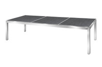"ZIX Dining Table 106.5"" x 39.5"" - Stainless Steel (hairline finish), High Pressure Laminate (slate)"